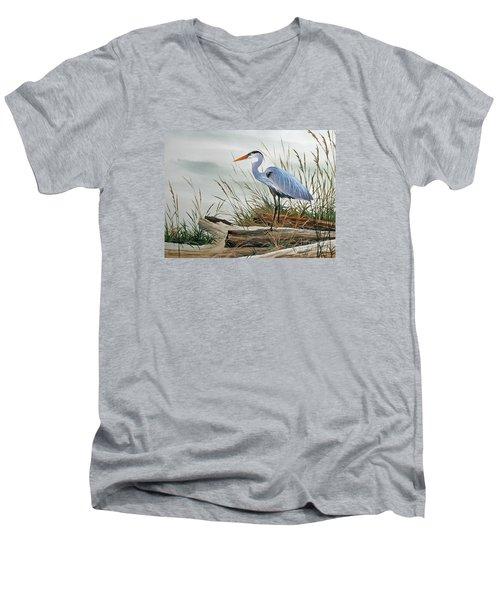 Beautiful Heron Shore Men's V-Neck T-Shirt