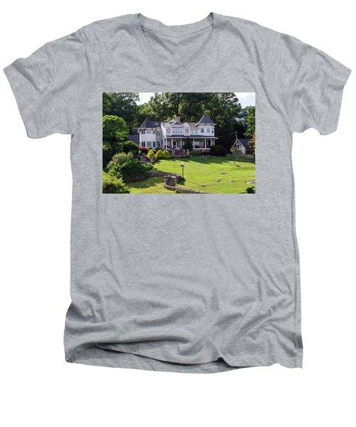Beautiful Home On Lake Hopatcong Men's V-Neck T-Shirt by Maureen E Ritter