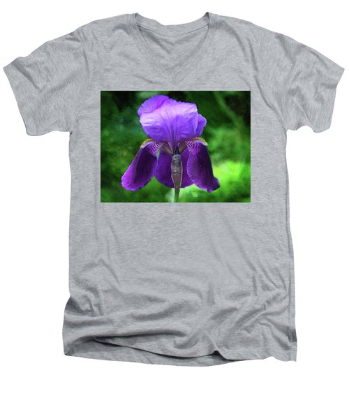 Beautiful Iris With Texture Men's V-Neck T-Shirt by Trina Ansel
