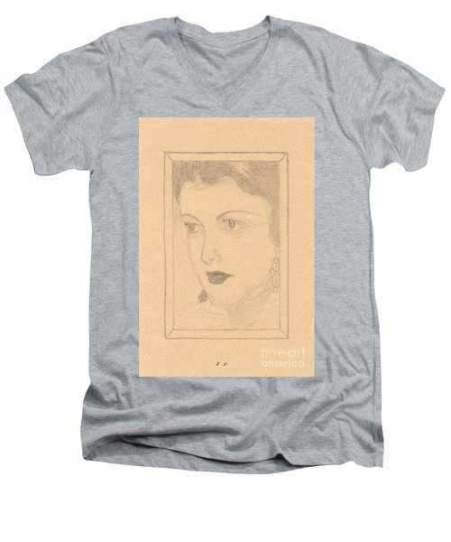 Beautiful Lady Face Men's V-Neck T-Shirt