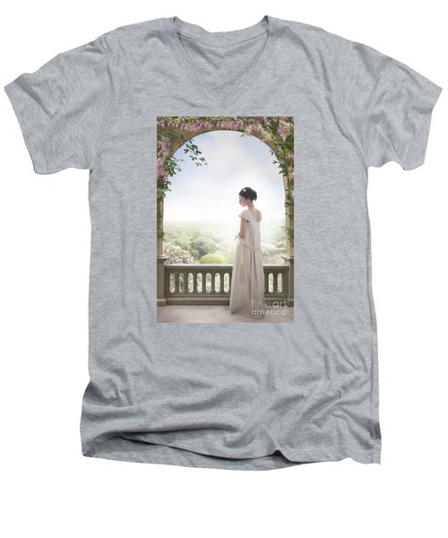 Beautiful Regency Woman Beneath A Wisteria Arch Men's V-Neck T-Shirt