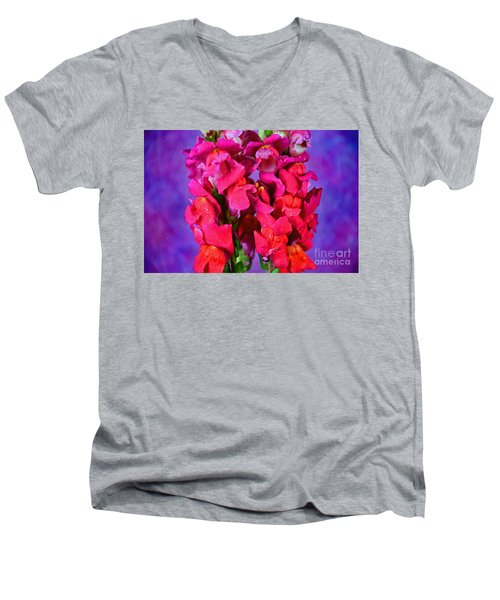 Beautiful Snapdragon Flowers Men's V-Neck T-Shirt by Ray Shrewsberry