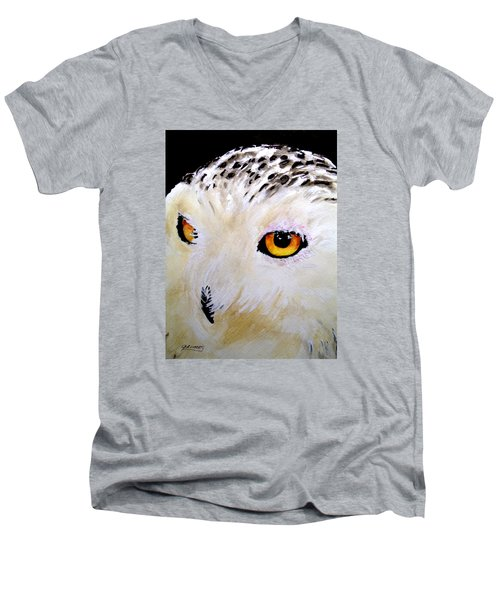 Men's V-Neck T-Shirt featuring the painting Beautiful Snowy Owl by Carol Grimes