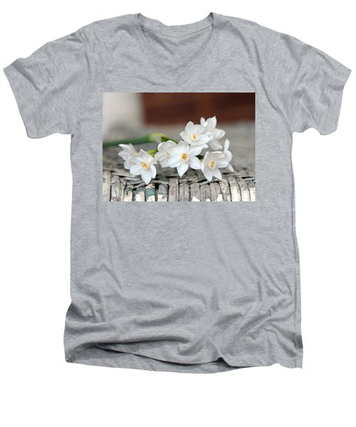 Beautiful Spring Paperwhites Men's V-Neck T-Shirt by Carla Parris