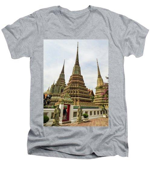 Beautiful Stupas At Wat Pho Temple Men's V-Neck T-Shirt