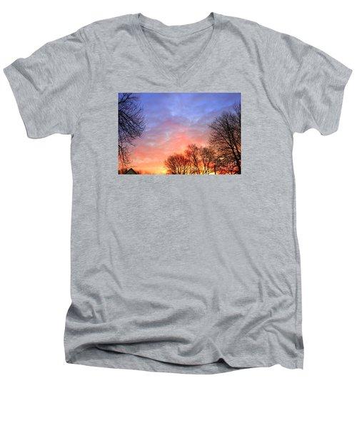 Beautiful Sunrise After Blizzard  Men's V-Neck T-Shirt by Yumi Johnson