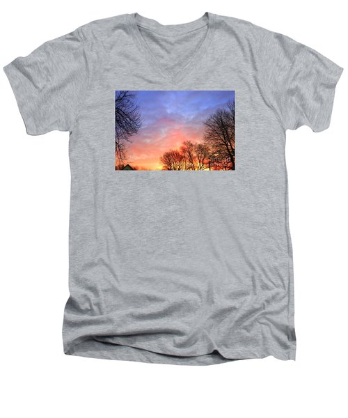 Beautiful Sunrise After Blizzard  Men's V-Neck T-Shirt