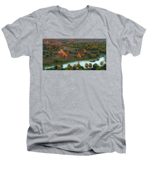 Beautiful Sunrise In Bagan Men's V-Neck T-Shirt