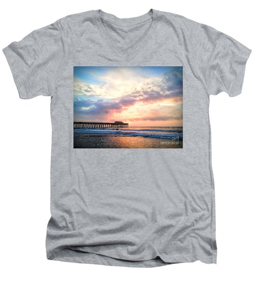 Beautiful Sunrise In Myrtle Beach South Carolina Usa Men's V-Neck T-Shirt by Vizual Studio