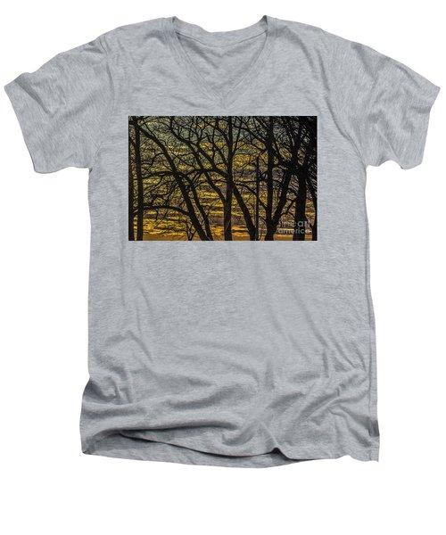 Beautiful Sunset Behind Bare Trees Men's V-Neck T-Shirt