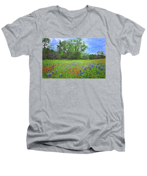 Beautiful Texas Spring Men's V-Neck T-Shirt by Lynn Bauer