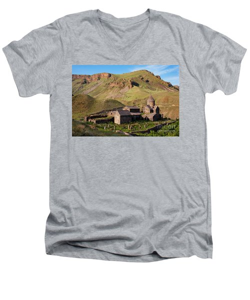 Beautiful Vorotnavank Monastery At Evening, Armenia Men's V-Neck T-Shirt