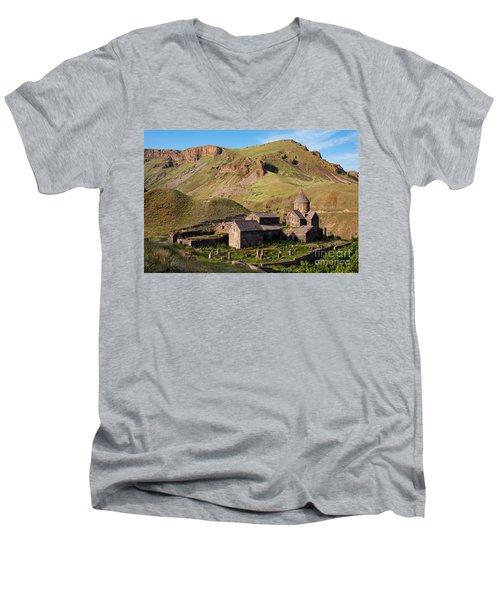 Beautiful Vorotnavank Monastery At Evening, Armenia Men's V-Neck T-Shirt