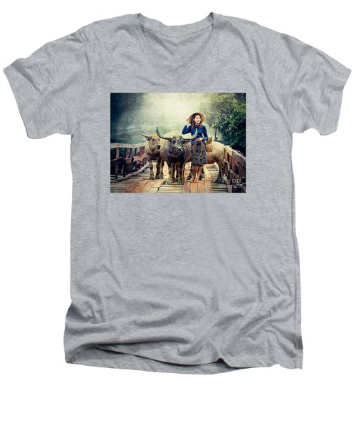 Beauty And The Water Buffalo Men's V-Neck T-Shirt by Ian Gledhill