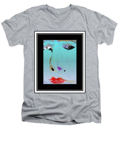 Men's V-Neck T-Shirt featuring the digital art Beauty Mark - Blue by Larry Talley