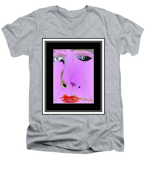 Men's V-Neck T-Shirt featuring the digital art Beauty Mark - Pink by Larry Talley