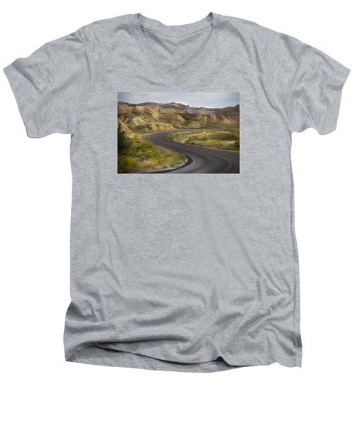Men's V-Neck T-Shirt featuring the photograph Beauty Of The Badlands South Dakota by John Hix