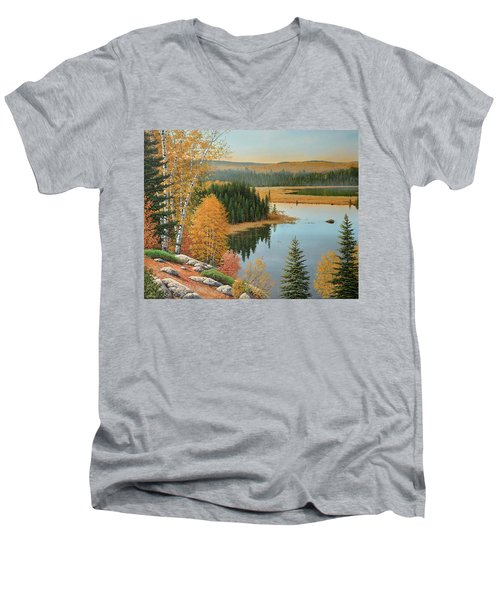 Beaver Pond Lookout Men's V-Neck T-Shirt