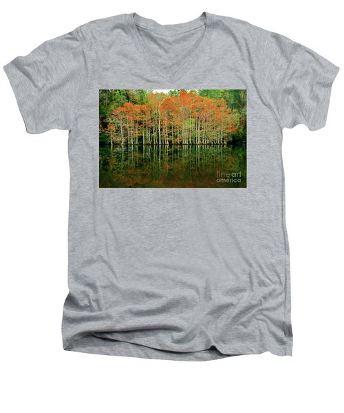 Beaver's Bend Cypress All In A Row Men's V-Neck T-Shirt by Tamyra Ayles