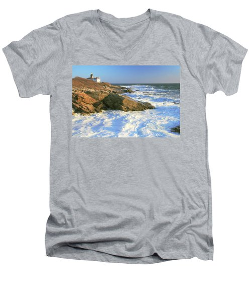 Men's V-Neck T-Shirt featuring the photograph Beavertail Point And Lighthouse  by Roupen  Baker