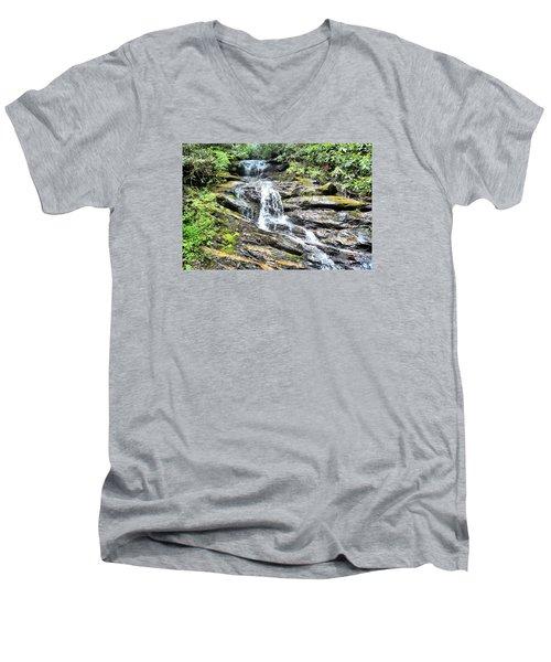 Becky Branch Falls In Summer Men's V-Neck T-Shirt by James Potts