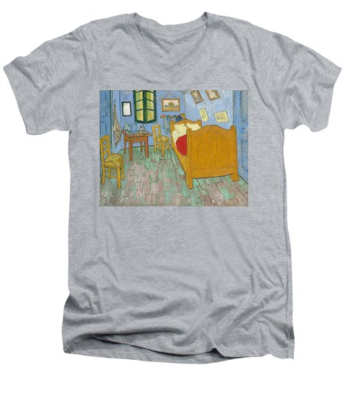 Men's V-Neck T-Shirt featuring the painting Bedroom At Arles by Van Gogh