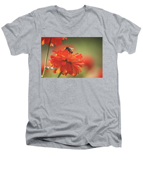 Men's V-Neck T-Shirt featuring the photograph Bee And Flower Iv by Donna G Smith