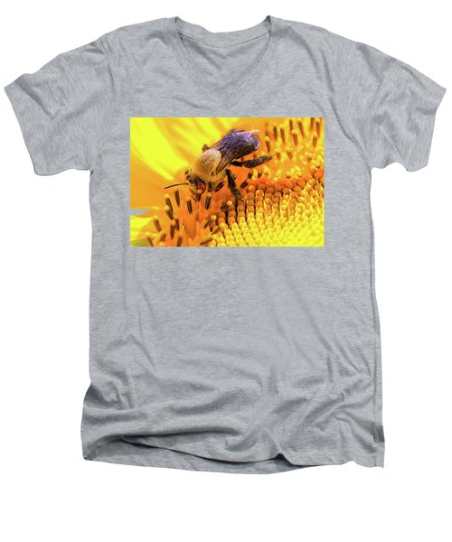 Bee And Sunflower Men's V-Neck T-Shirt