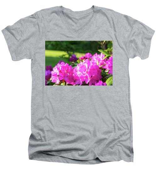 Bee Flying Over Catawba Rhododendron Men's V-Neck T-Shirt