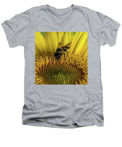 Men's V-Neck T-Shirt featuring the photograph Bee In A Sunflower by Paul Freidlund