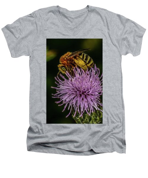 Men's V-Neck T-Shirt featuring the photograph Bee On A Thistle by Paul Freidlund