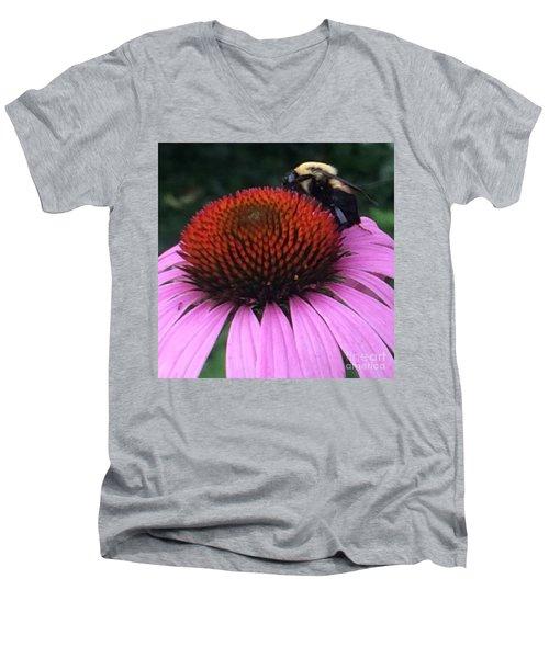 Bee On Flower By Saribelle Rodriguez Men's V-Neck T-Shirt by Saribelle Rodriguez