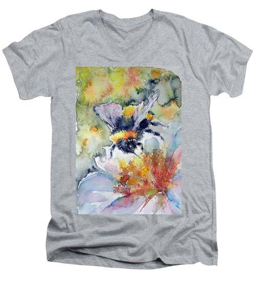 Bee On Flower Men's V-Neck T-Shirt