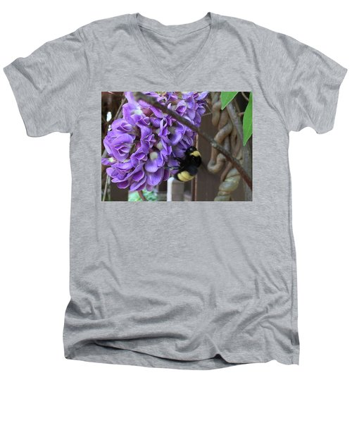 Men's V-Neck T-Shirt featuring the painting Bee On Native Wisteria by Angela Annas