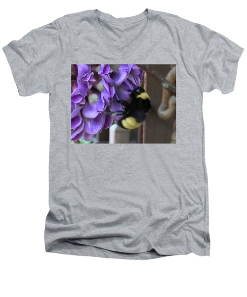 Men's V-Neck T-Shirt featuring the painting Bee On Native Wisteria I by Angela Annas