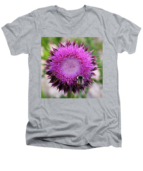 Men's V-Neck T-Shirt featuring the photograph Bee On Thistle by David Chandler