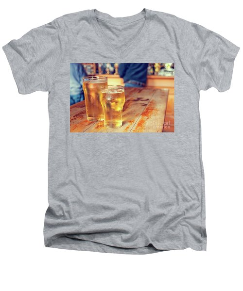 Men's V-Neck T-Shirt featuring the photograph Beers In A Pub by Patricia Hofmeester