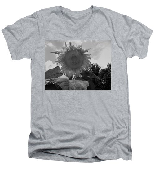 Men's V-Neck T-Shirt featuring the digital art Bees On A Sunflower by Chris Flees