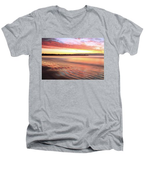 Men's V-Neck T-Shirt featuring the photograph Before Sunrise At First Beach by Roupen  Baker