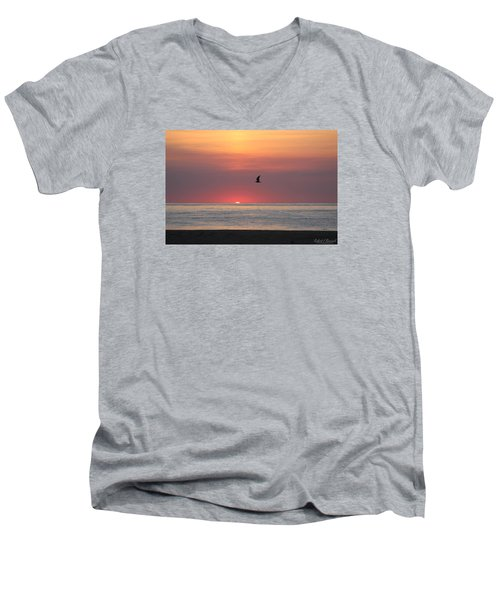 Men's V-Neck T-Shirt featuring the photograph Beginning The Day by Robert Banach