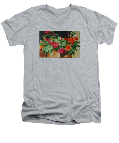 Begonias Flowers Colorful Original Painting Men's V-Neck T-Shirt by Elizabeth Sawyer