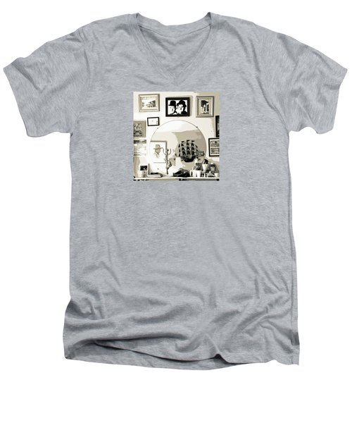 Men's V-Neck T-Shirt featuring the photograph Behind The Barber Chair by Joe Jake Pratt