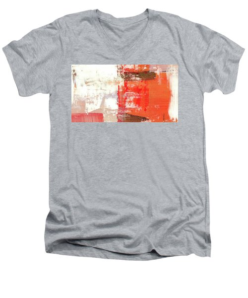 Behind The Corner - Warm Linear Abstract Painting Men's V-Neck T-Shirt