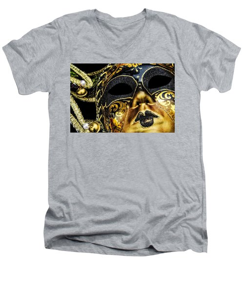 Men's V-Neck T-Shirt featuring the photograph Behind The Mask by Carolyn Marshall