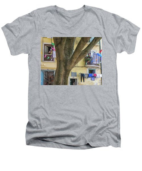 Men's V-Neck T-Shirt featuring the photograph Behind The Tree by Patricia Schaefer