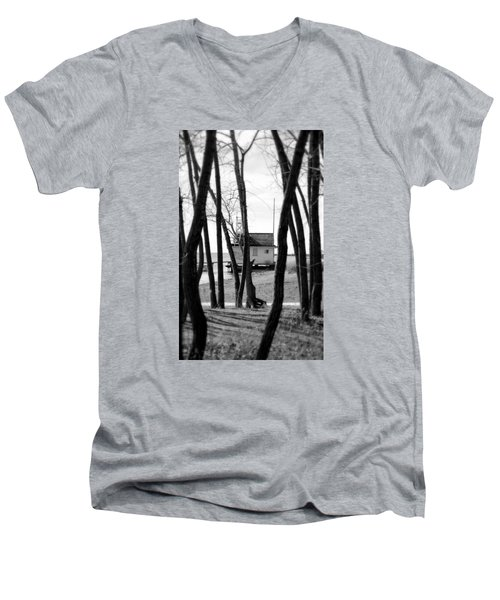 Men's V-Neck T-Shirt featuring the photograph Behind The Trees by Valentino Visentini