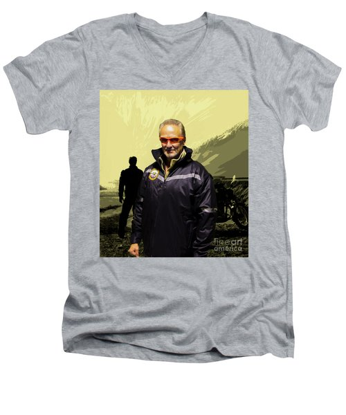 Men's V-Neck T-Shirt featuring the photograph Being In The Movie IIi by Al Bourassa