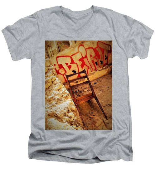 Beirut Graffiti With A Lonely Chair  Men's V-Neck T-Shirt