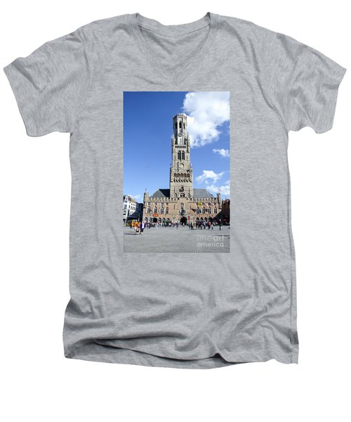 Men's V-Neck T-Shirt featuring the photograph Belfry Of Bruges by Pravine Chester