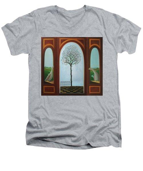 Men's V-Neck T-Shirt featuring the painting Belgian Triptyck by Tone Aanderaa